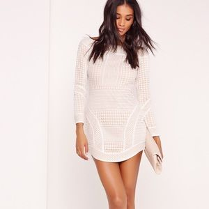Off-Shoulder White Lace Bodycon Dress